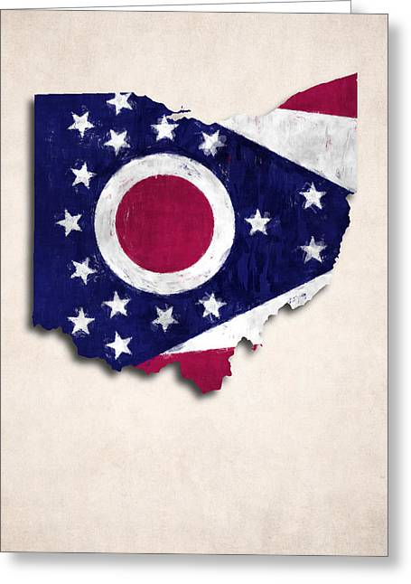 Geographic Digital Art Greeting Cards - Ohio Map Art with Flag Design Greeting Card by World Art Prints And Designs