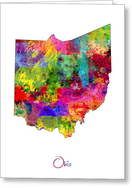 Columbus Greeting Cards - Ohio Map Greeting Card by Michael Tompsett