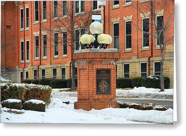Snowstorm Greeting Cards - Ohio Northern University In Winter Greeting Card by Dan Sproul