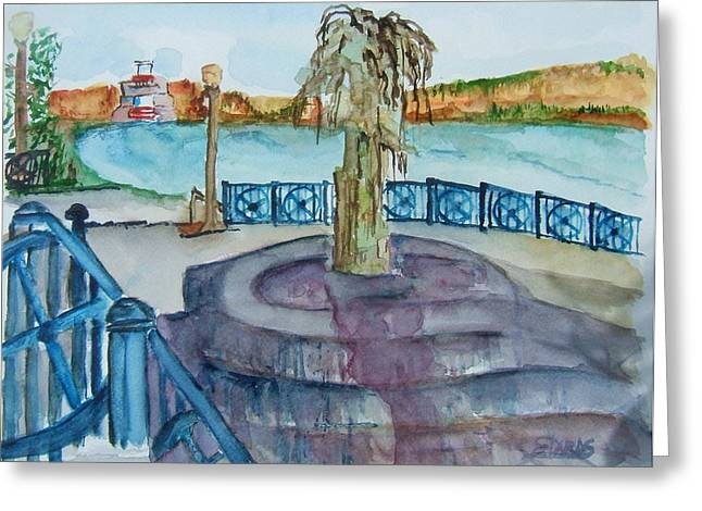 Indiana Rivers Paintings Greeting Cards - Ohio River at Rising Sun Indiana Greeting Card by Elaine Duras