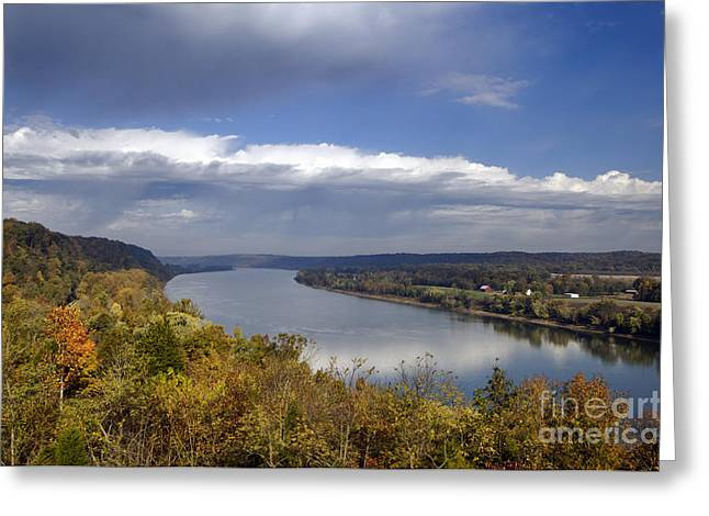 Indiana Autumn Greeting Cards - Ohio River - D003157 Greeting Card by Daniel Dempster