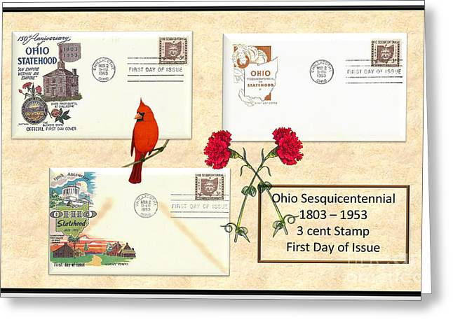 Sesquicentennial Greeting Cards - Ohio Sesquicentennial First Day Covers Greeting Card by Charles Robinson