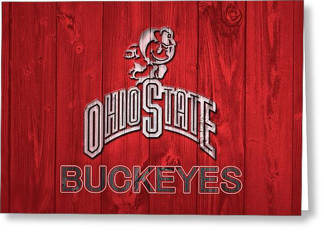 Ohio State University Greeting Cards - Ohio State Buckeyes Barn Door Greeting Card by Dan Sproul