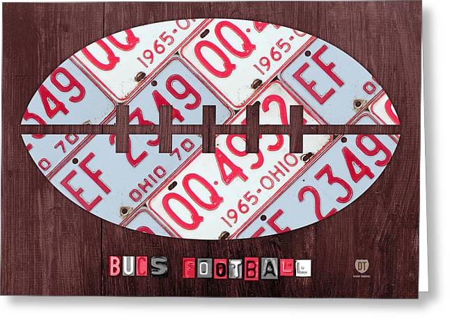 Ohio State University Greeting Cards - Ohio State Buckeyes Football Recycled License Plate Art Greeting Card by Design Turnpike