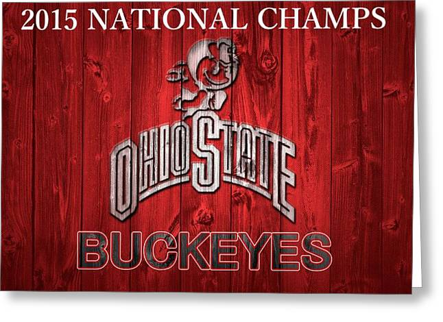 Champs Mixed Media Greeting Cards - Ohio State Buckeyes National Champs Barn Door Greeting Card by Dan Sproul