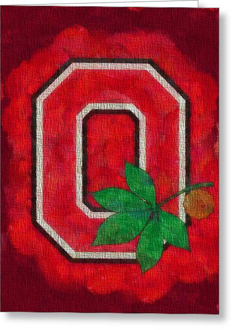 Team Paintings Greeting Cards - Ohio State Buckeyes On Canvas Greeting Card by Dan Sproul