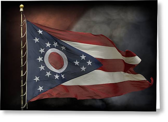 Stripes. Blowing Greeting Cards - Ohio State Flag Greeting Card by Steven  Michael