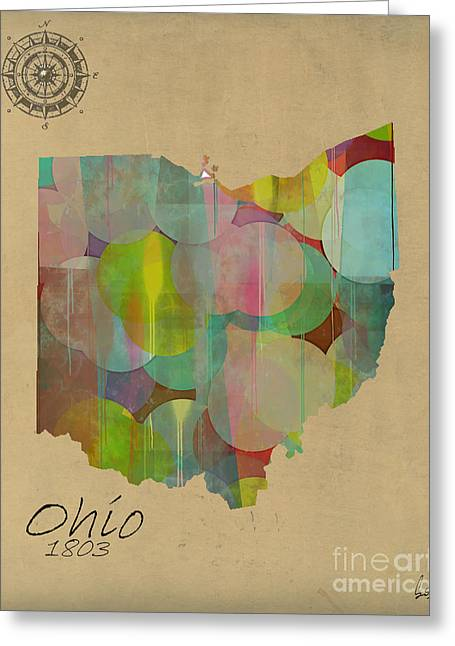 Ohio ist Digital Greeting Cards - Ohio State Map Greeting Card by Bri Buckley