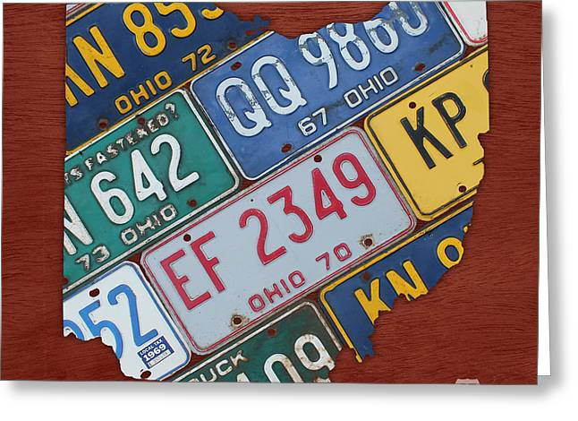 Ohio State University Greeting Cards - Ohio State Map Made Using Vintage License Plates Greeting Card by Design Turnpike