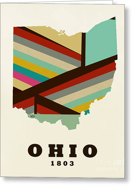 World Map Print Paintings Greeting Cards - Ohio State Map Modern Greeting Card by Bri Buckley