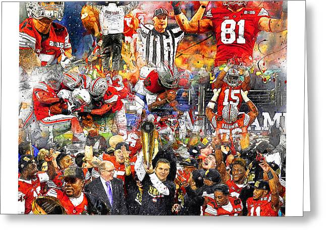 Football National Champions Greeting Cards - Ohio State National Champions 2015 Greeting Card by John Farr