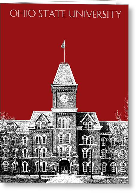 Dark Red Greeting Cards - Ohio State University - Dark Red Greeting Card by DB Artist