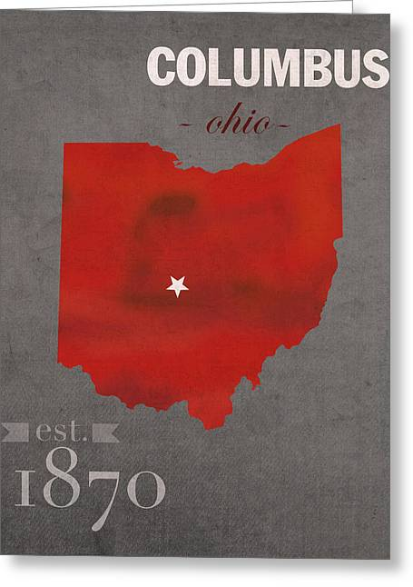 Buckeye Greeting Cards - Ohio State University Buckeyes Columbus Ohio College Town State Map Poster Series No 005 Greeting Card by Design Turnpike