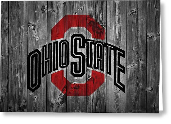 Men Mixed Media Greeting Cards - Ohio State University Greeting Card by Dan Sproul