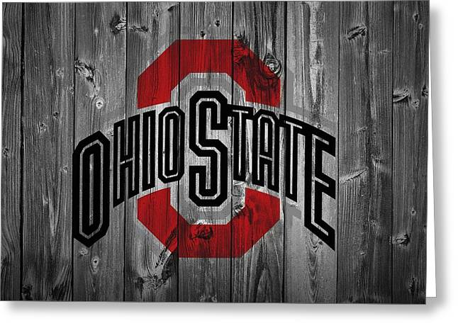 Man Mixed Media Greeting Cards - Ohio State University Greeting Card by Dan Sproul