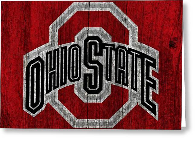 Man Mixed Media Greeting Cards - Ohio State University On Worn Wood Greeting Card by Dan Sproul