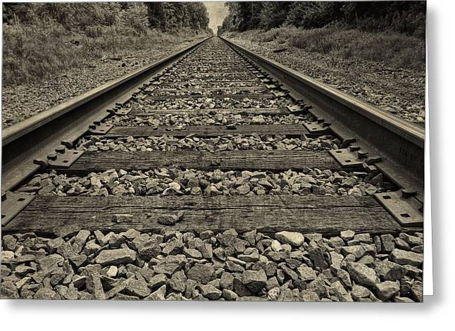 Great Mysteries Photographs Greeting Cards - Ohio Train Tracks Greeting Card by Dan Sproul