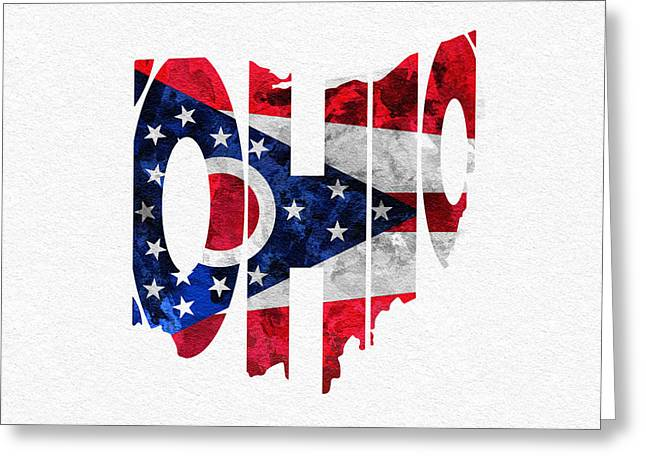 Original Watercolor Greeting Cards - Ohio Typographic Map Flag Greeting Card by Ayse Deniz
