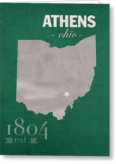 Ohio Greeting Cards - Ohio University Athens Bobcats College Town State Map Poster Series No 082 Greeting Card by Design Turnpike