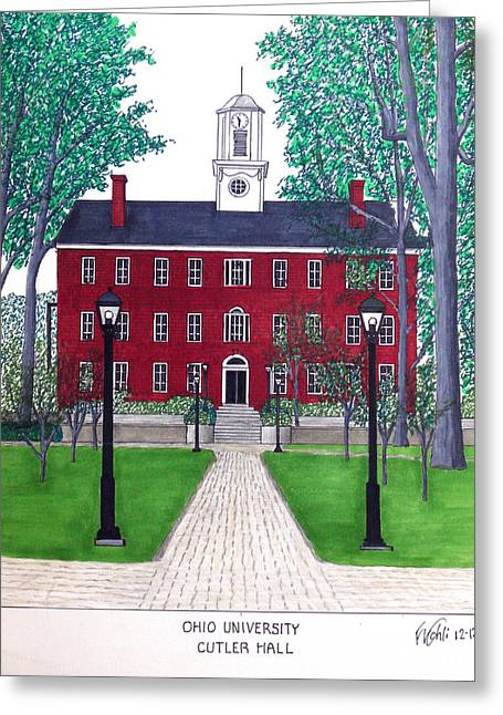Cutler Hall Greeting Cards - Ohio University Greeting Card by Frederic Kohli