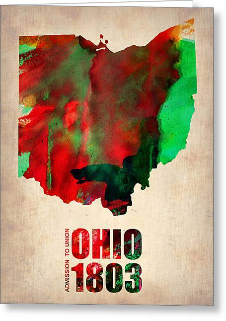 Ohio State Greeting Cards - Ohio Watercolor Map Greeting Card by Naxart Studio