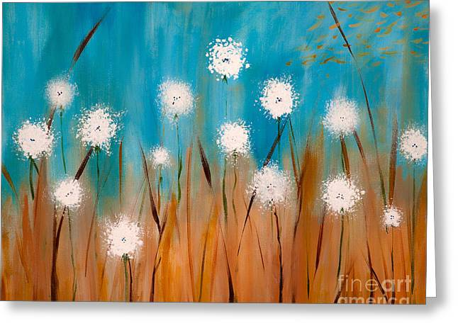 Dandilion Greeting Cards - Ohm the Breeze Greeting Card by Amanda Barcon