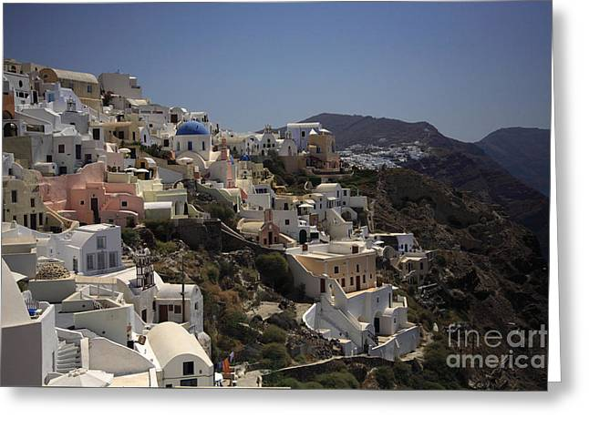 Byzantine Greeting Cards - Oia by day Greeting Card by Deborah Benbrook