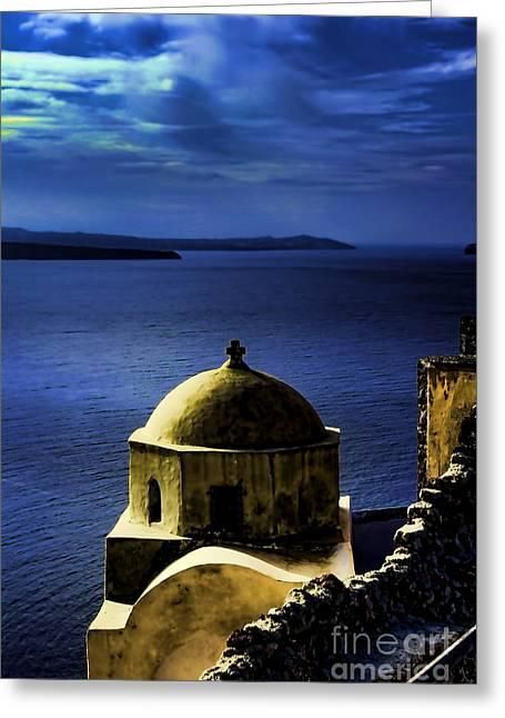Oia Greece Greeting Card by Tom Prendergast