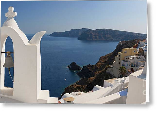 Oia Panorama 02 Greeting Card by Antony McAulay