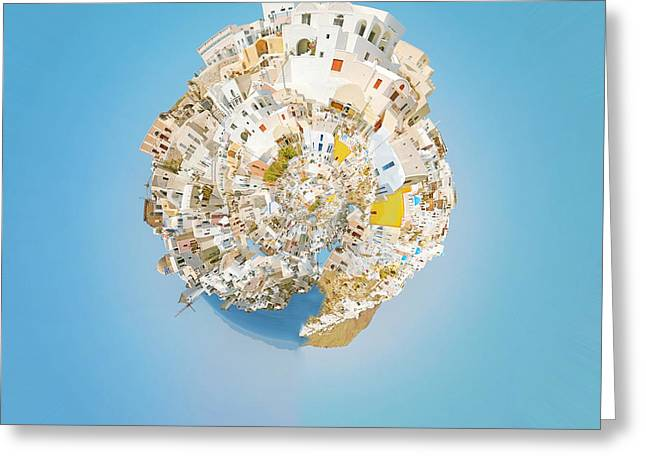 Fish. Spherical Greeting Cards - Oia Panorama planet 02 Greeting Card by Antony McAulay
