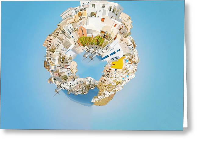 Fish. Spherical Greeting Cards - Oia Panorama planet Greeting Card by Antony McAulay