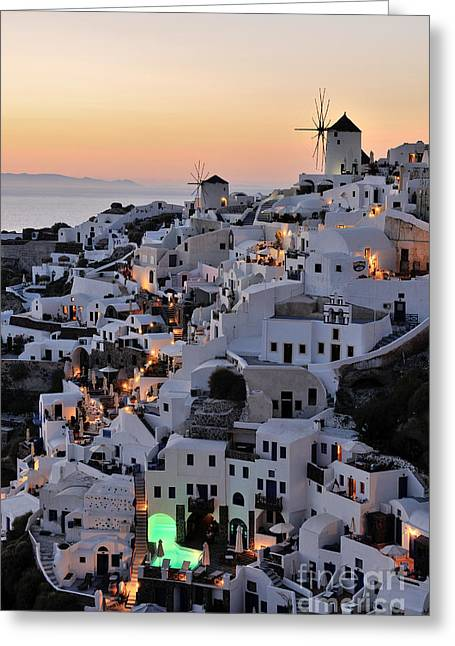 Santorini Greeting Cards - Oia town during sunset Greeting Card by George Atsametakis