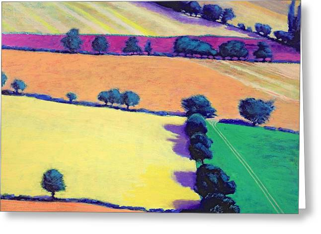Summer Landscape Greeting Cards - Oil Acrylic On Card Greeting Card by Paul Powis