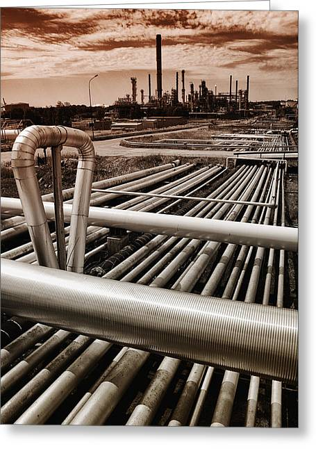 Petrochemical Greeting Cards - Oil And Gas Industry Greeting Card by Christian Lagereek