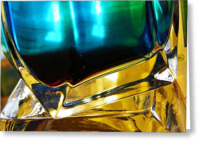 Green And Yellow Abstract Greeting Cards - Oil and Water 3 Greeting Card by Sarah Loft