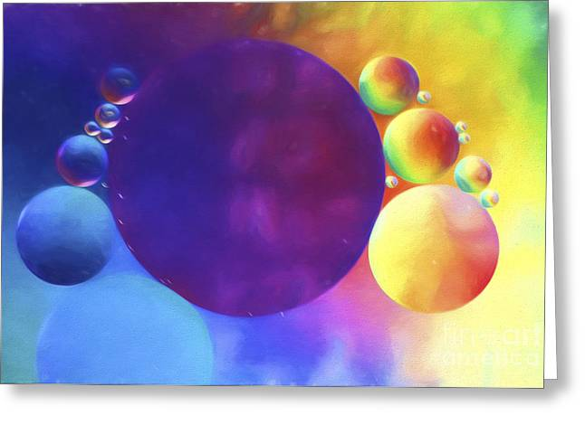 Oily Greeting Cards - Oil and Water Abstract Greeting Card by Darren Fisher