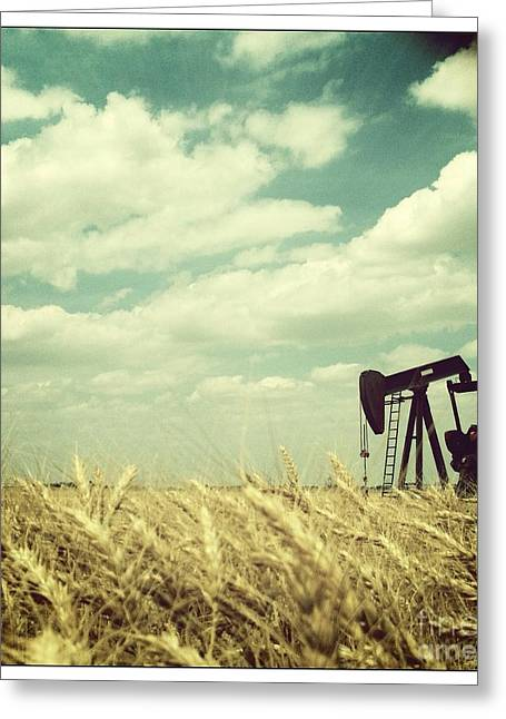 Oil Pumper Photographs Greeting Cards - Oil Boom Greeting Card by Becky Gossett