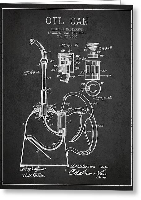 Lube Greeting Cards - Oil Can Patent From 1903 - Dark Greeting Card by Aged Pixel