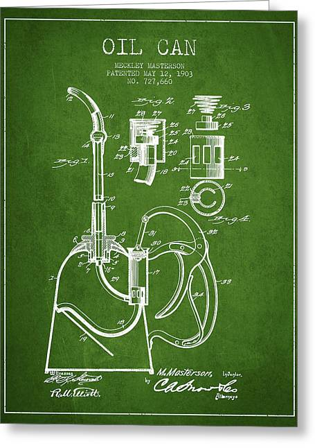 Oil Pump Greeting Cards - Oil Can Patent From 1903 - Green Greeting Card by Aged Pixel