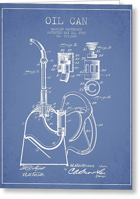 Lube Greeting Cards - Oil Can Patent From 1903 - Light Blue Greeting Card by Aged Pixel