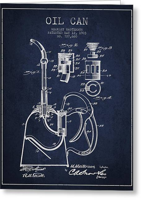 Oil Industry Greeting Cards - Oil Can Patent From 1903 - Navy Blue Greeting Card by Aged Pixel