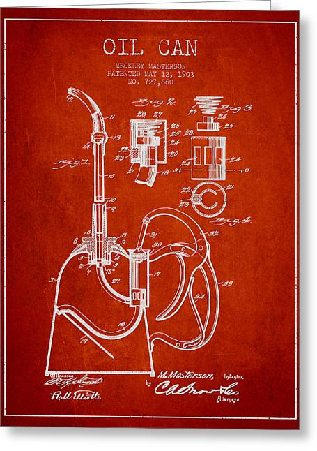 Lube Greeting Cards - Oil Can Patent From 1903 - Red Greeting Card by Aged Pixel