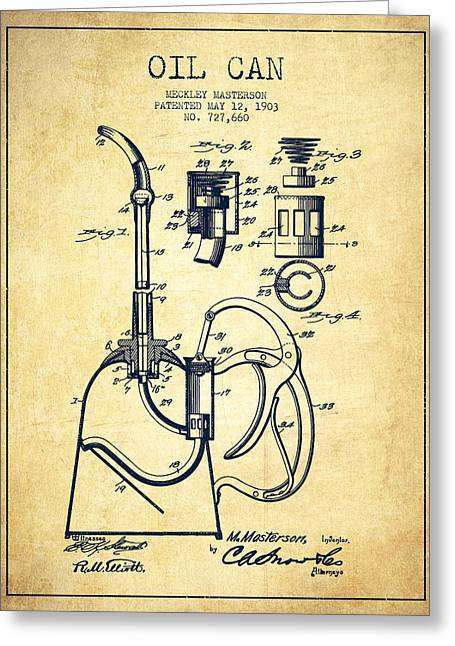 Lube Greeting Cards - Oil Can Patent From 1903 - Vintage Greeting Card by Aged Pixel