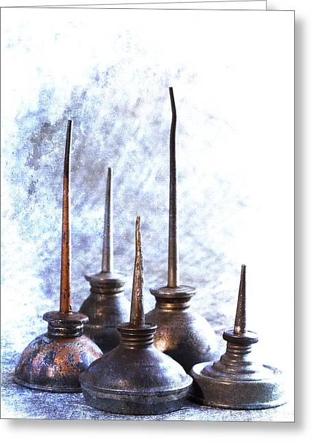 Repaired Greeting Cards - Oil Cans Greeting Card by Carol Leigh