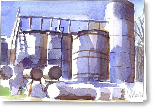 Oil Depot In April Greeting Card by Kip DeVore