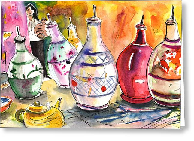 Oil Dispensers From Taormina Greeting Card by Miki De Goodaboom
