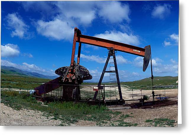 Field. Cloud Greeting Cards - Oil Drill On A Landscape, Taft, Kern Greeting Card by Panoramic Images