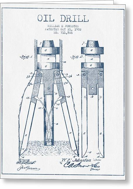 Oil Drilling Greeting Cards - Oil Drill Patent From 1902 -  Blue Ink Greeting Card by Aged Pixel