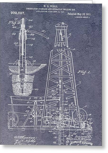 Oil Platform Greeting Cards - Oil Drilling Rig Patent Greeting Card by Dan Sproul