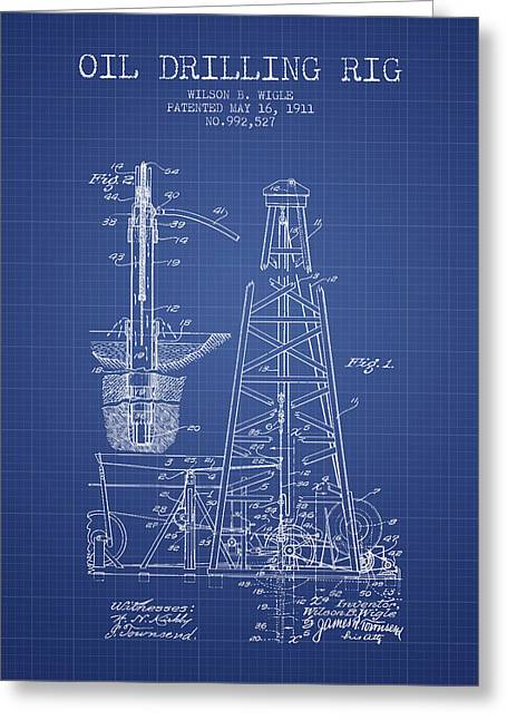 American Oil Wells Greeting Cards - Oil Drilling Rig Patent from 1911 - Blueprint Greeting Card by Aged Pixel